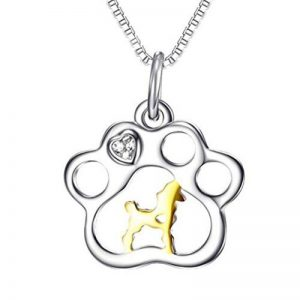Argent sterling 925collier strass belle chien patte Pendentif clavicule chaîne Mode tempérament Bijoux de la marque DE-HXP-Halskette image 0 produit