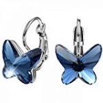 Boucles d'oreille pendantes en Lapis Lazuli serti d'une collerette en argent massif de la marque image 4 produit