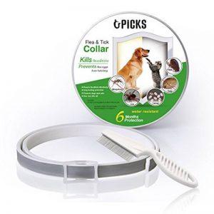 Collier anti-puces pour chien - 6mois de protection anti-puces et de contrôle des tiques - Pour chiens chats - Taille réglable et étanche - Arrête les piqûres des parasites et les démangeaisons de la marque U-picks image 0 produit
