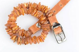 Collier réglable entièrement naturel contre les puces et tiques Fabriqué à la main en ambre de la Baltique brut et cuir Marron clair Pour chiens et chats de la marque Amber Neck image 0 produit