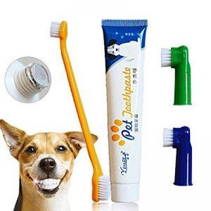 Dentifrice pour chien, brosse à dents, brosses à doigts, dentifrice pour chiens et chats, plaque et tartare Kit de soins dentaires pour animaux de compagnie - saveur de boeuf de la marque CIDBEST image 0 produit