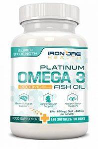 Iron Ore Health - Huile de poisson - 180 capsules de 2000 mg - 660 EPA + 440 DHA par prise de la marque Iron Ore Health image 0 produit