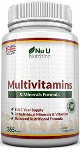 Multivitamins & Minerals Formula – 24 Vitamines et Minéraux - Végétarien - Homme/Femme - Cure d'1 An/365 Comprimés - Compléments alimentaires de Nu U Nutrition de la marque Nu U image 0 produit