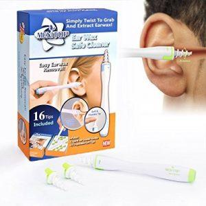 Nettoyeur d'Oreilles, Kit d'enlèvement de cire d'oreille, nettoyant à cire d'oreille, cire d'épilation en spirale doux avec 16 têtes de remplacement en silicone jetables améliorées pour bébé, hygiène de l'oreille familiale + bouchons d'oreille de réductio image 0 produit