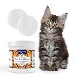 Petpost   Lingettes nettoyantes pour oreilles de chats - 100 compresses ultra douces à l'huile de noix de coco - Traitement pour infection des oreilles et oreilles sales chez les chats. de la marque Petpost image 1 produit