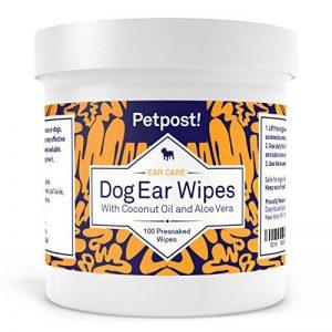 Petpost | Lingettes nettoyantes pour oreilles de chiens - 100 compresses ultra douces à l'huile de noix de coco et aloe - Traitement pour infection des oreilles et acariens de la marque Petpost image 0 produit