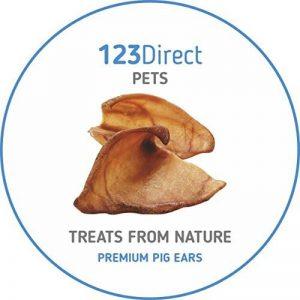 Premium | Bien-être | Paquet de 50 grandes oreilles de porc séchées | Récompense et friandise à mastiquer pour chien, crue et naturelle par 123 Direct Pets | En provenance de l'EU | PAS une importation chinoise de mauvaise qualité ! de la marque 123 Direc image 0 produit