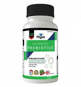 Probiotiques Avancés Physis | 50 Milliards de Cellules Bactériennes Souches Viables au Quotidien | Des Bactéries Utiles et Actives | 30 gélules par bouteille de la marque Physis image 0 produit