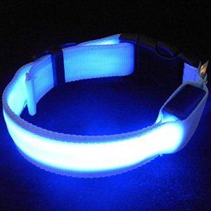 Sijueam Collier pour Chiens Chats Animaux Lumineux à LED rechargeable USB Taille Réglable pour Promenades Noctures 3 modes de clignotement - Bleu, Taille XS de la marque Sijueam image 0 produit